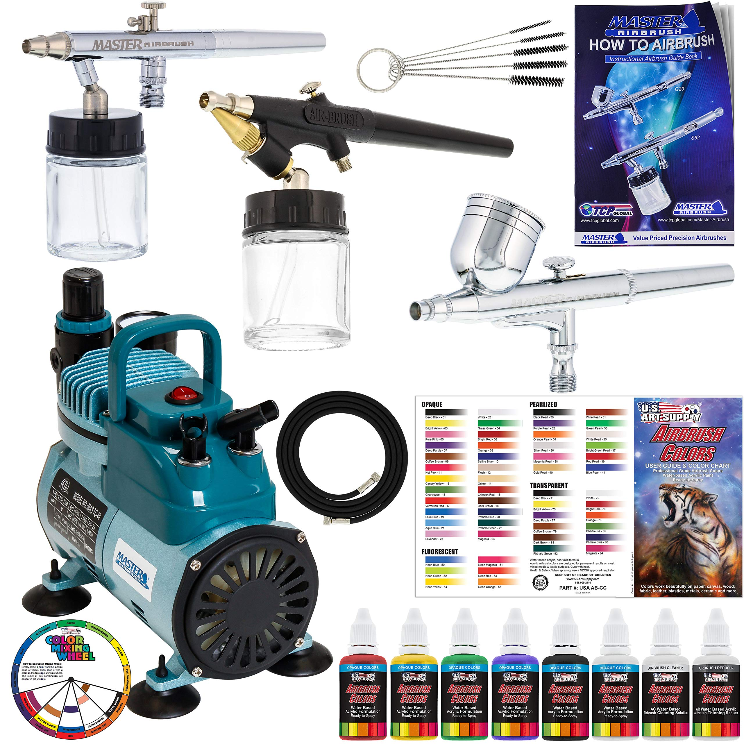 Master Pro Airbrush Multi-Purpose Airbrushing System with 3 Airbrushes, 6 U.S. Art Supply Primary Colors Acrylic Paint Set - Cool Running Air Compressor - Color Mixing Wheel, Usage Guide, Brushes