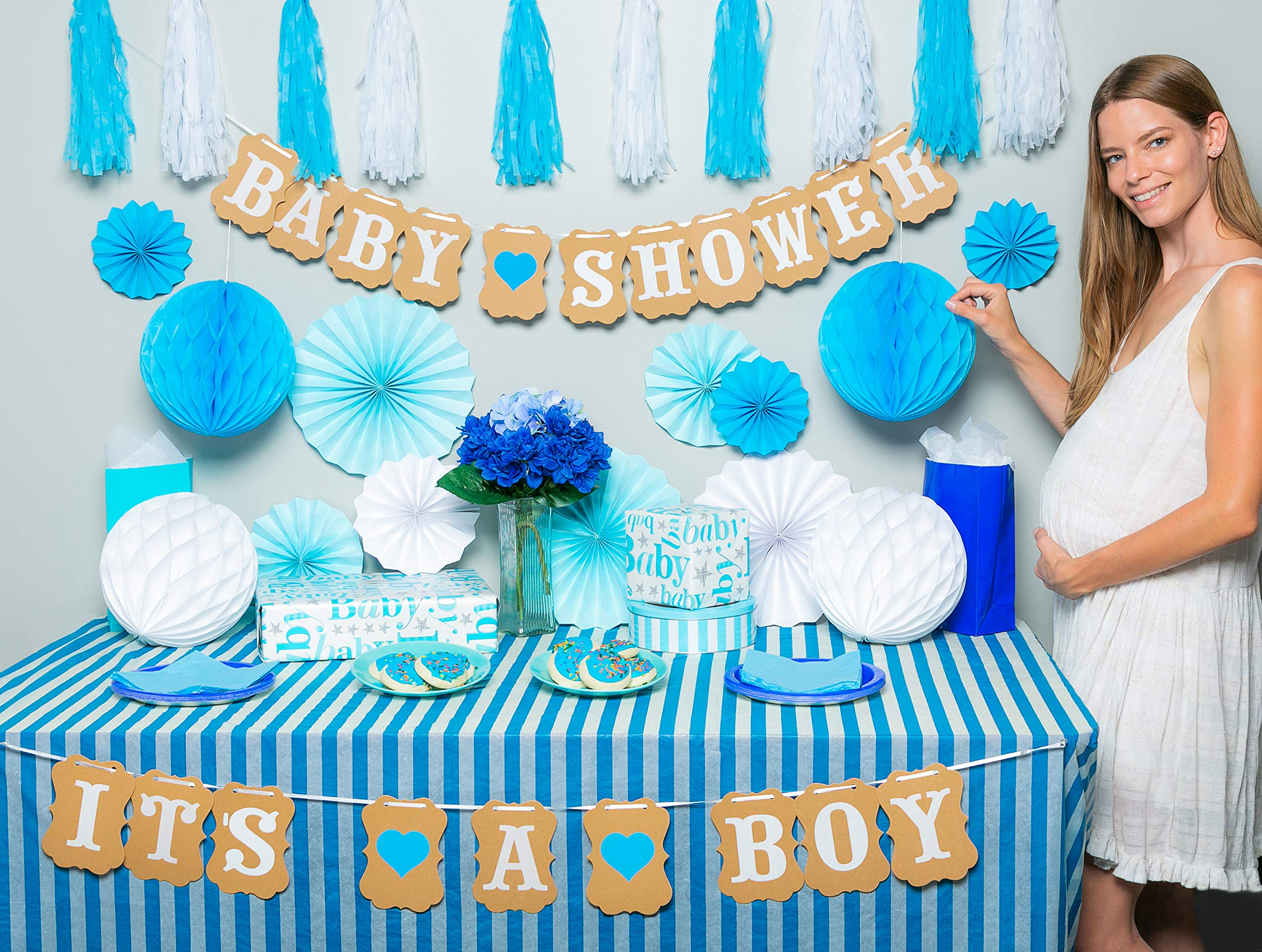 Premium baby shower decorations for boy Kit | It's a boy baby shower decorations with striped tablecloth, 2 banners, paper fans, and honeycomb balls | complete baby shower set for a beautiful baby boy by TeeMoo (Image #2)