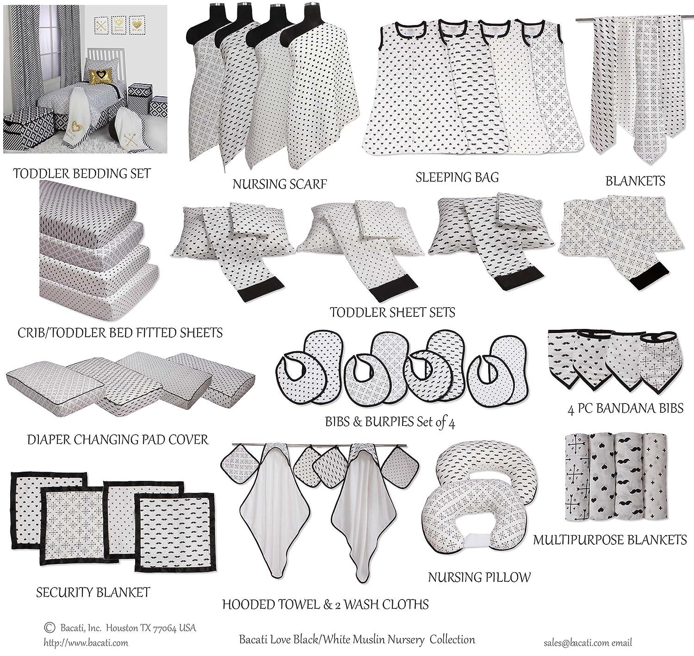Bacati Muslin Unisex 3 Piece Crib Set Moustache//Plus