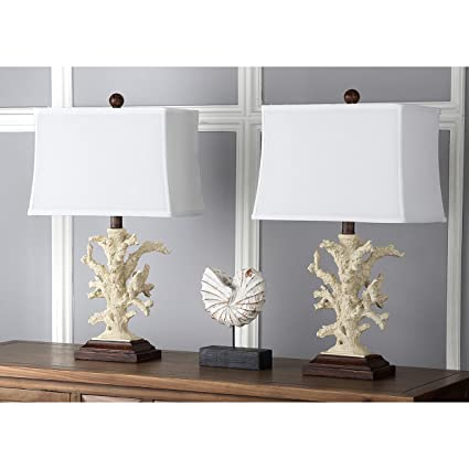 Safavieh Lighting Collection Key West Cream Coral 21 Inch Table Lamp (Set  Of 2