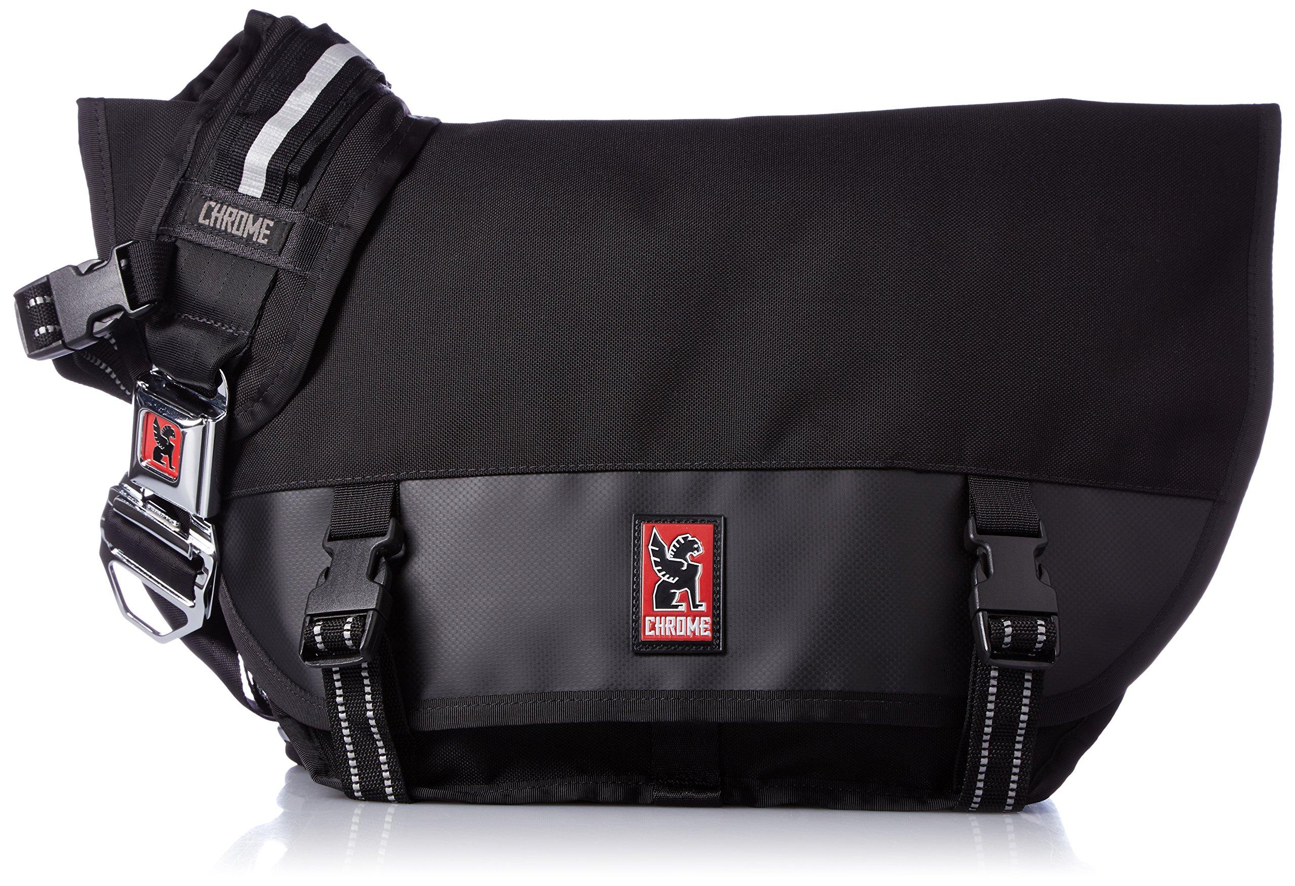 Chrome BG-001-BKBK Black One Size Mini Metro Messenger Bag Chrome Buckle