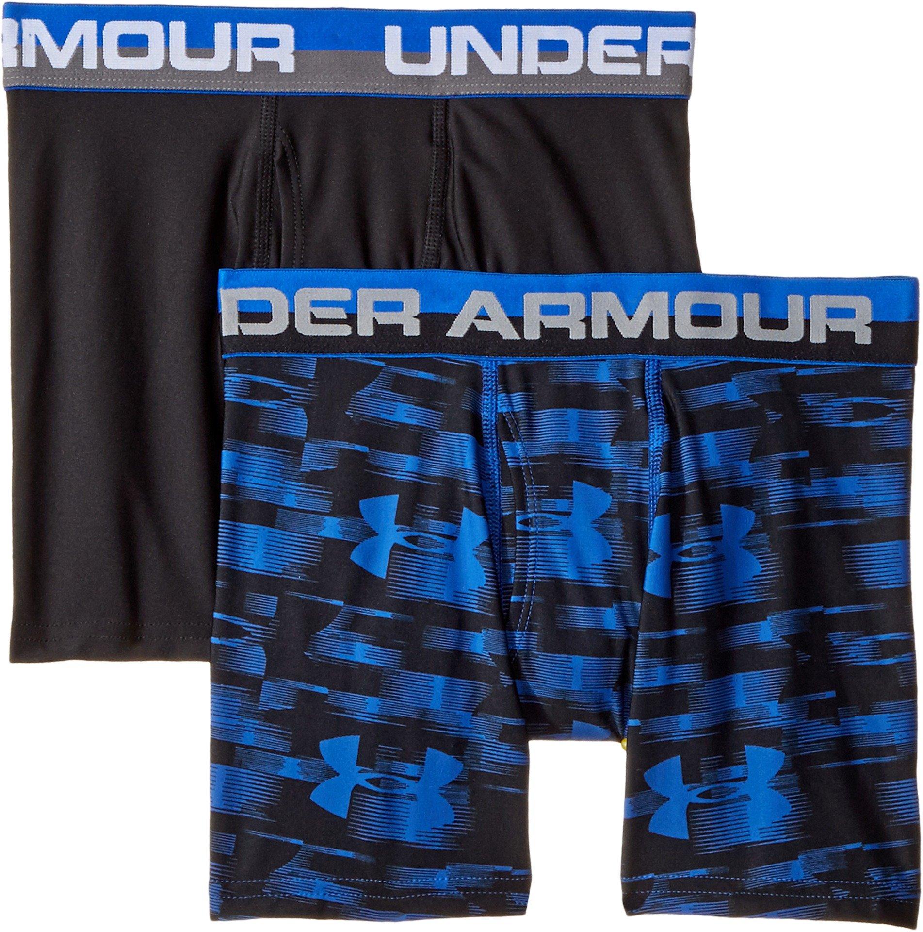 Under Armour Boys 2 Pack Performance Boxer Briefs, Ultra Blue/Black YXL