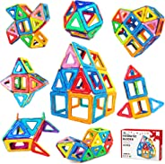 Jasonwell 42 Pcs Magnetic Tiles Building Blocks Set for Boys Girls Preschool Educational Construction Kit Magnet Stacking To