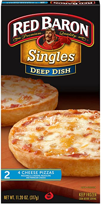 Red Baron, Deep Dish Singles Four Cheese Pizza, 11.20 oz (Frozen)