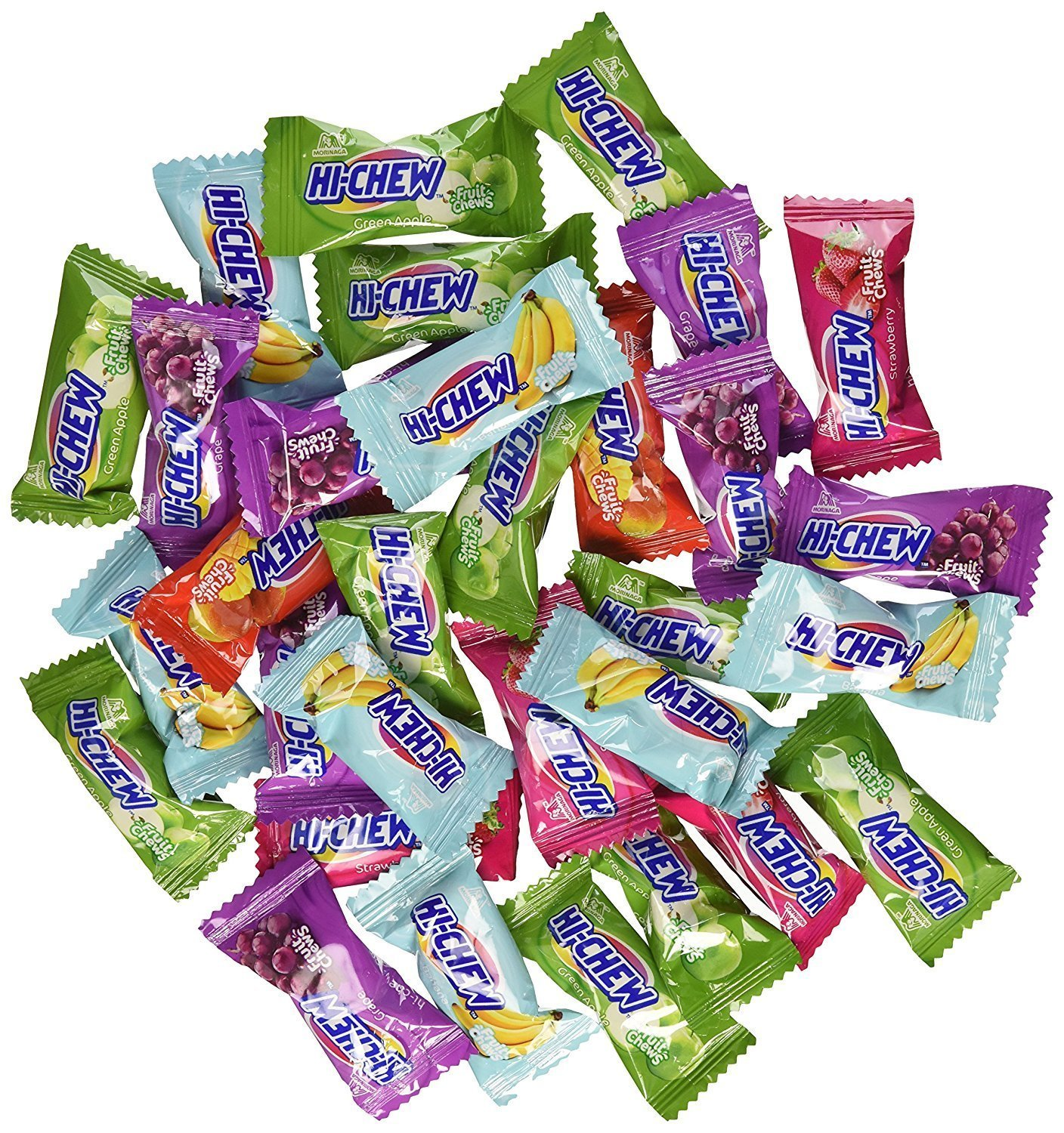Hi-Chew 190 Assorted Flavored Individually Wrapped Fruit Chews - Mango, Grape, Melon, Strawberry, Banana & Green Apple