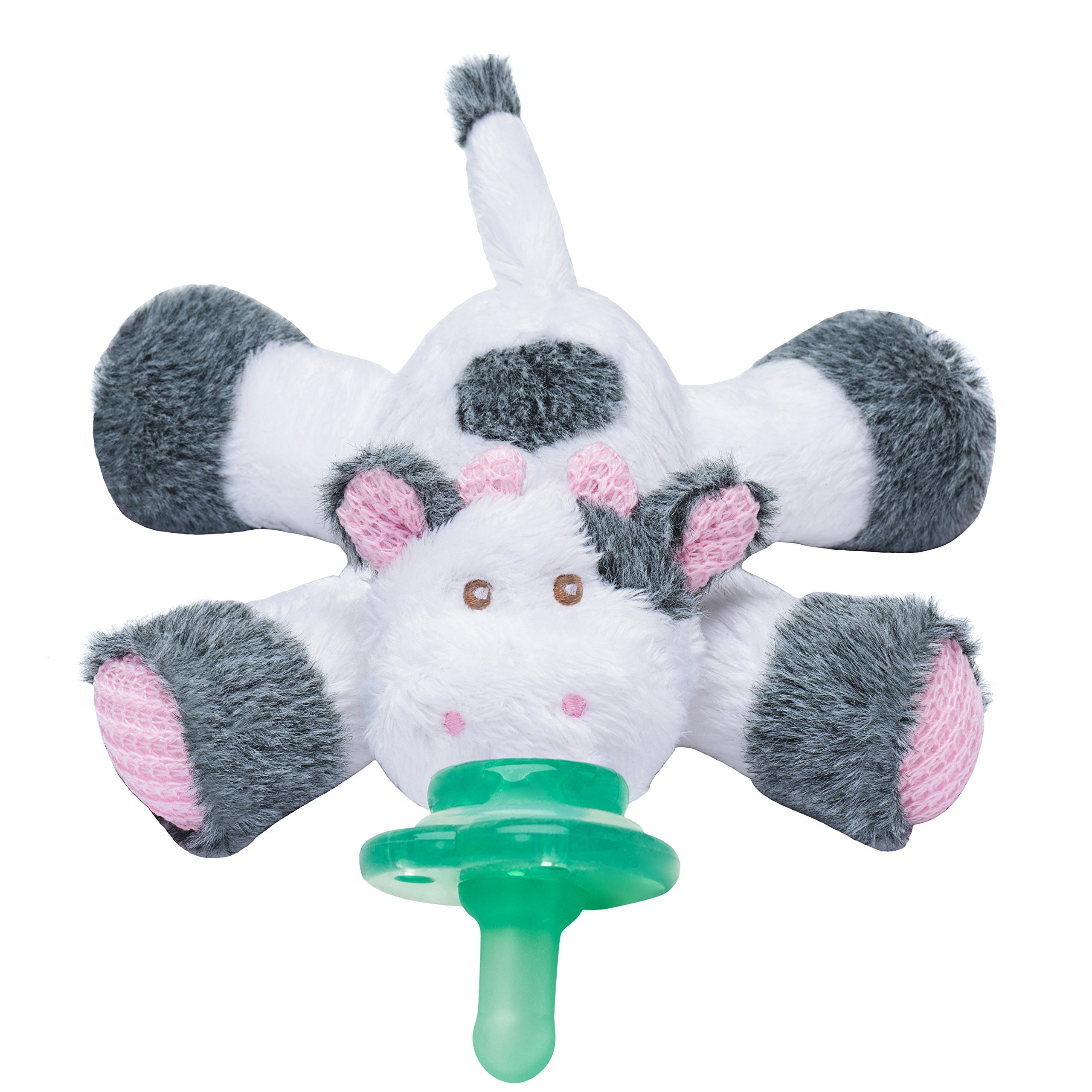 Nookums Paci-Plushies Cow Buddies- Pacifier Holder (Plush Toy Includes Detachable Pacifier, Use with Multiple Brand Name Pacifiers)