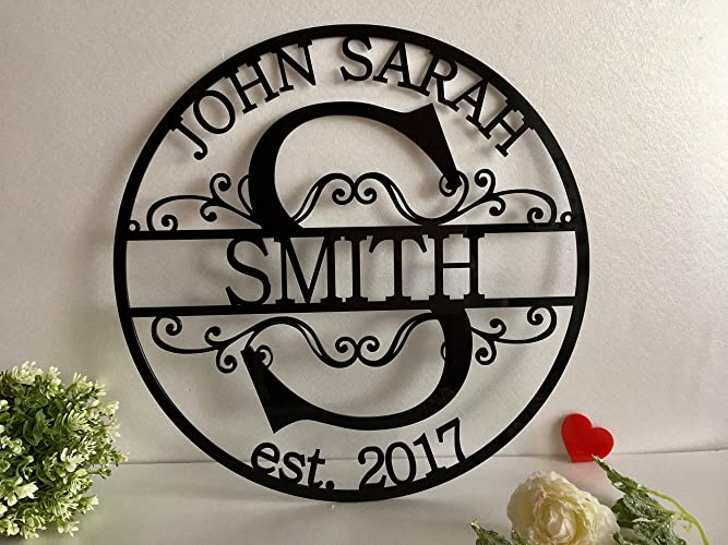 Personalized Acrylic Family Last Name Sign Initial Split Letter Wreath Wedding Gift Custom First Names Est. Year Established Sign Hanging Monogram Door ...