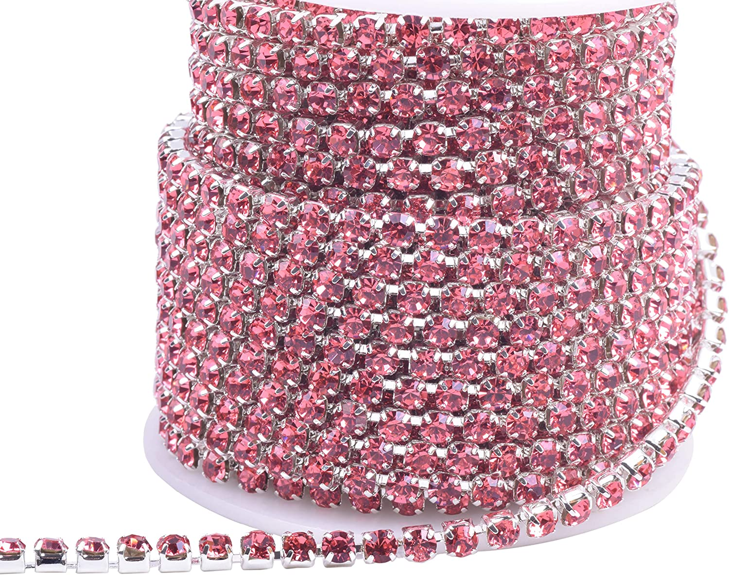 KAOYOO 10 Yards Crystal Rhinestone Close Chain Trim with Rainbow Colorful Beads SS12//3.0mm Silver Chain 5 Different Colors Mixed