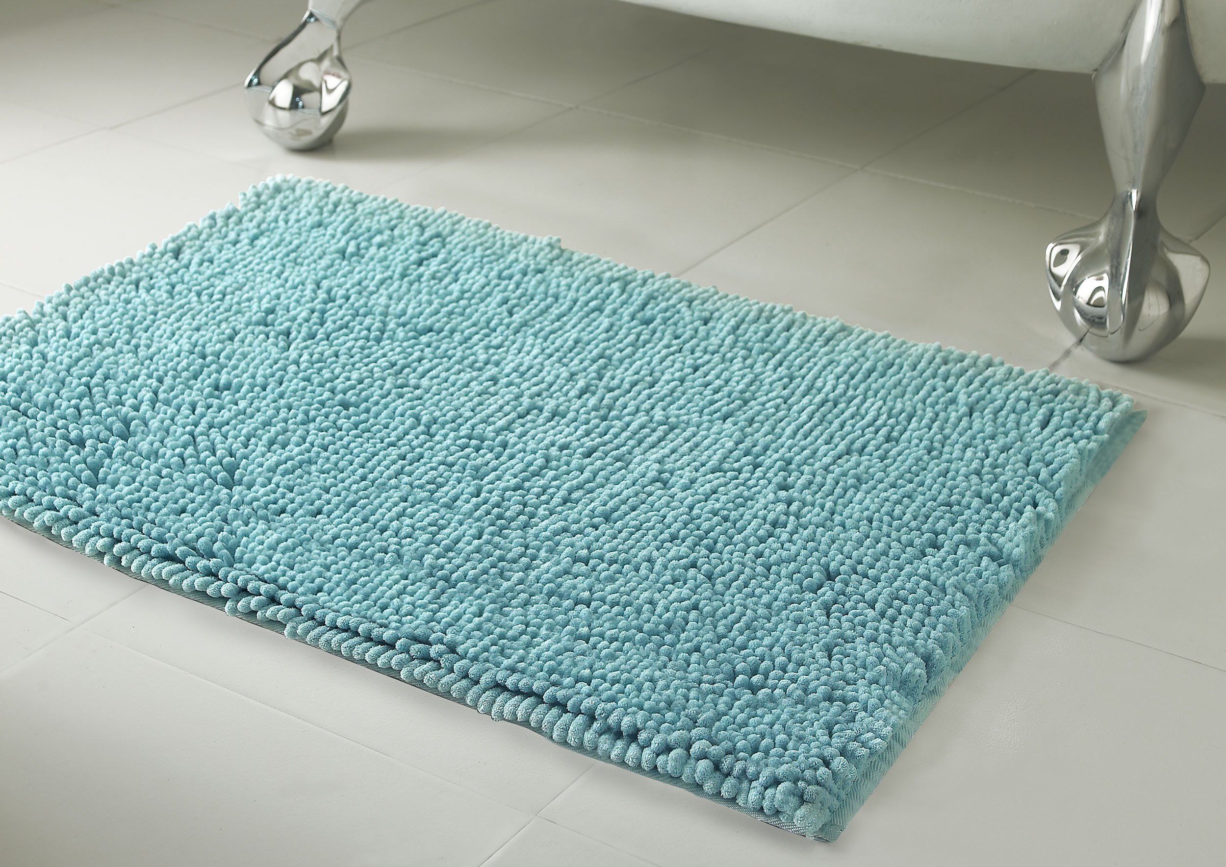 Resort Collection Plush Shag Chenille 17 x 24 Bath Mat, Aqua