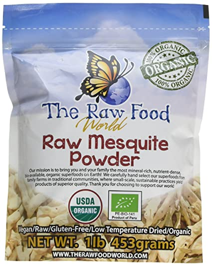 The Raw Food World: Polvo orgánico sin procesar de Mezquite (454g)
