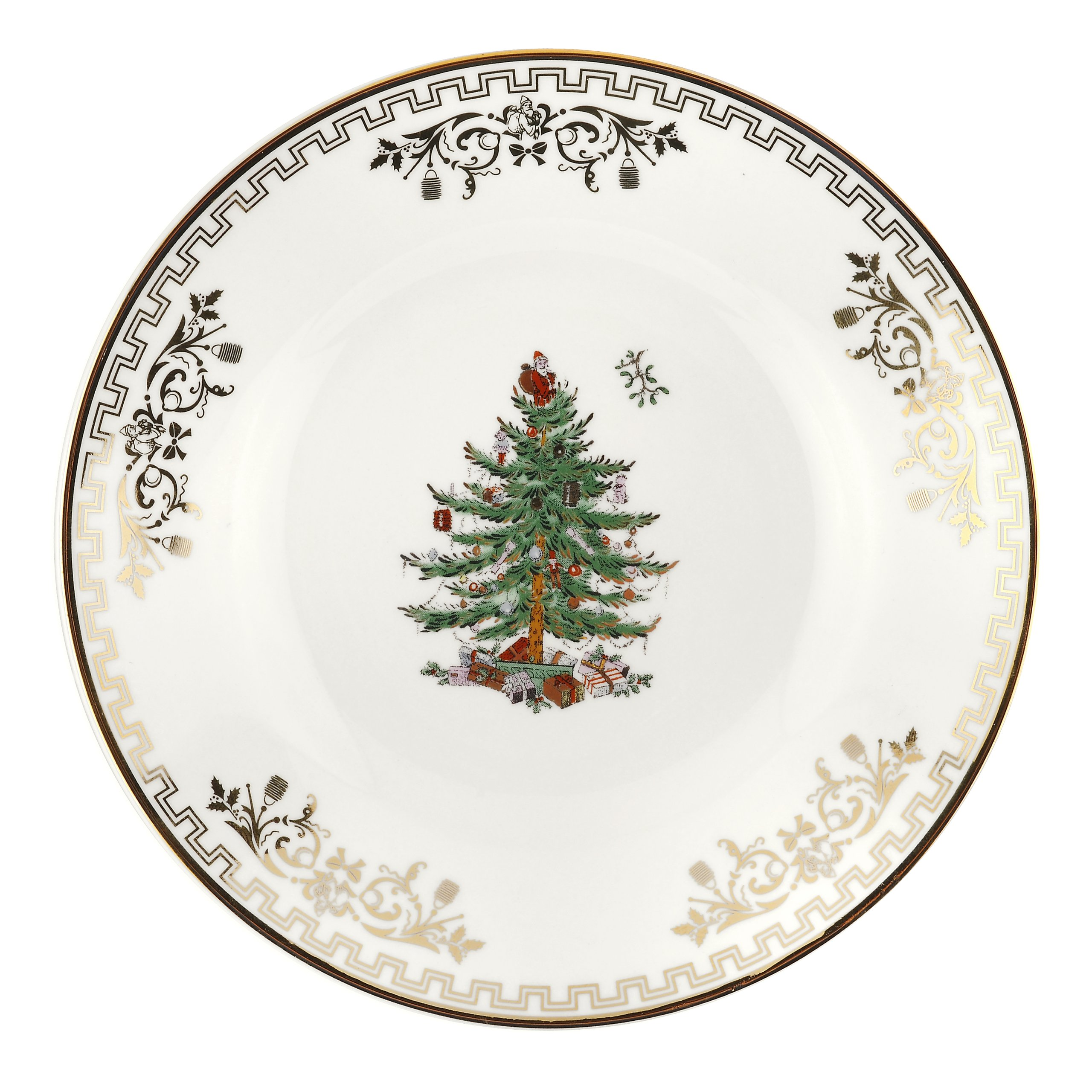 Spode Christmas Tree Gold Bread and Butter Plate, Set of 4