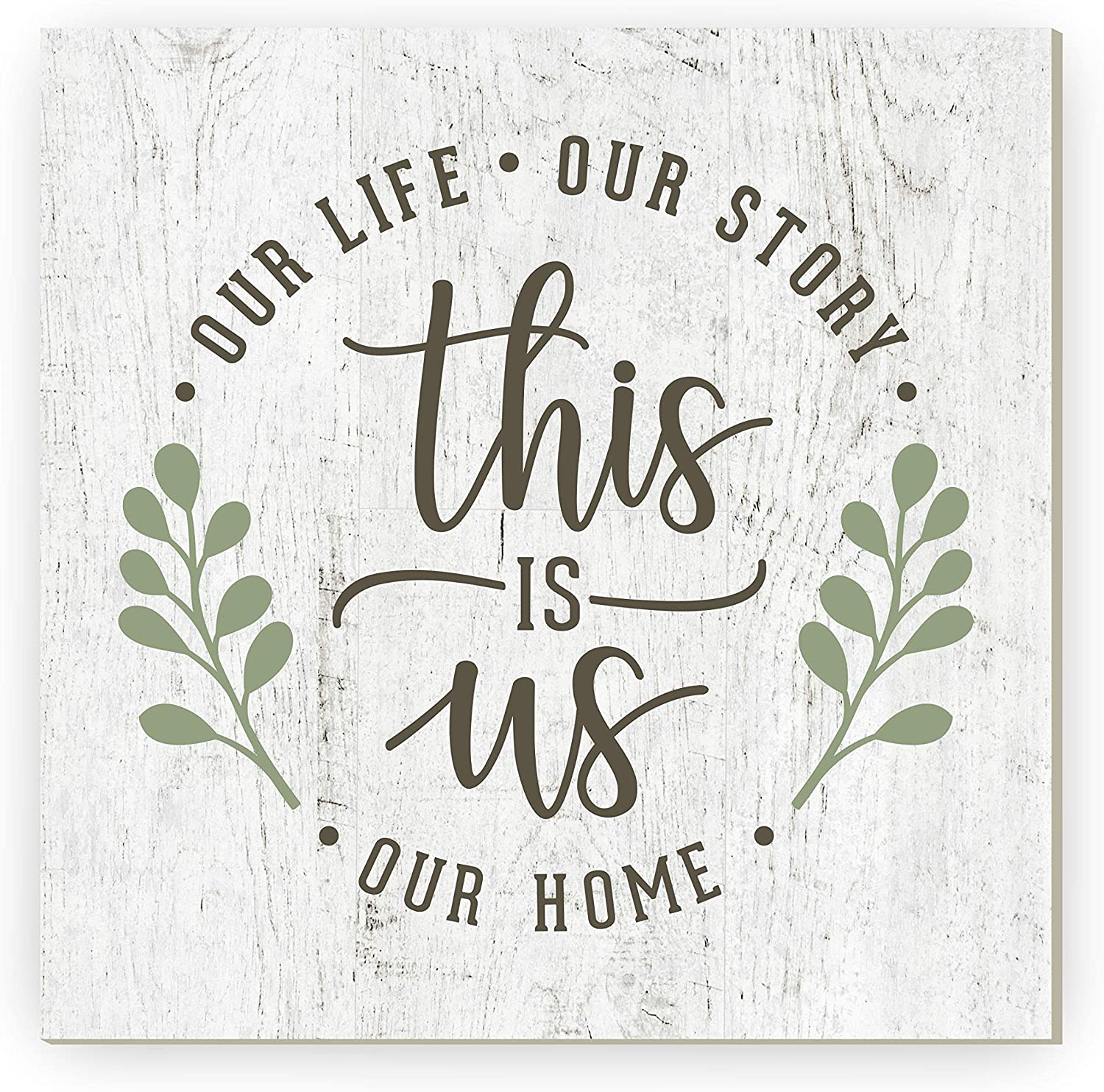 This is Us Our Life Our Story Our Home Rustic Framed Wood Farmhouse Wall Sign 12x12 (Unframed)