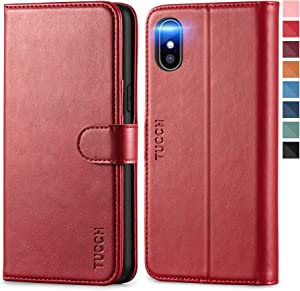 TUCCH iPhone Xs Wallet Case, Wireless Charging Flip PU Leather Stand Book Case RFID Blocking Card Holder, Magnetic [Auto Wake/Sleep] [TPU Shockproof Inner Case] Compatible with iPhone Xs Dark Red