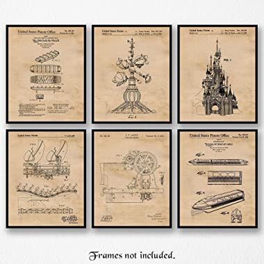 Original Disney Rides Patent Poster Prints, Set of 6 (8x10) Unframed Photos, Wall Art Decor Gifts Under 20 for Home, Office, Studio, Man Cave, College Student, Teacher, Movies & Theme Park Fan