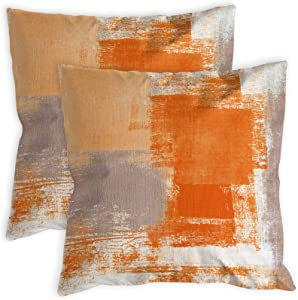 COLORPAPA 2 Pack Orange Throw Pillow Covers 18 x 18 inch Modern Abstract Artwork Burnt Orange Grey Decorative Throw Pillows Home Decor Cushion Cases for Couch Bed Living Room Bedroom