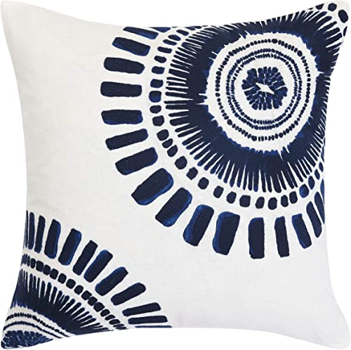 Trina Turk USHSA71050532 Samba De Roda Circle Embroidery Throw Pillow, 20-inch, Dark Blue