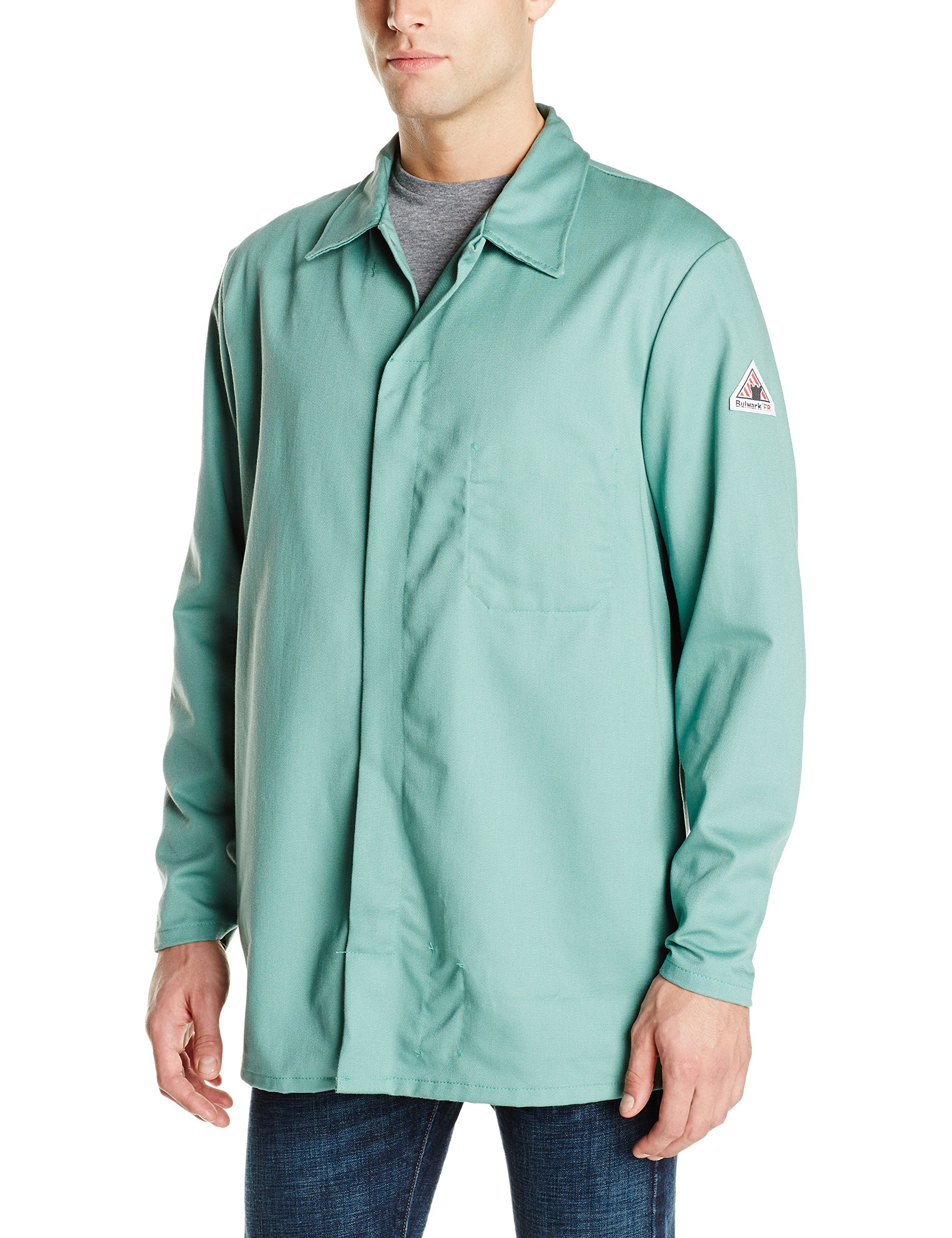 Bulwark Flame Resistant 9 oz Twill Cotton Excel FR Regular Work Coat with Top Stitched Collar, Visual Green, Small