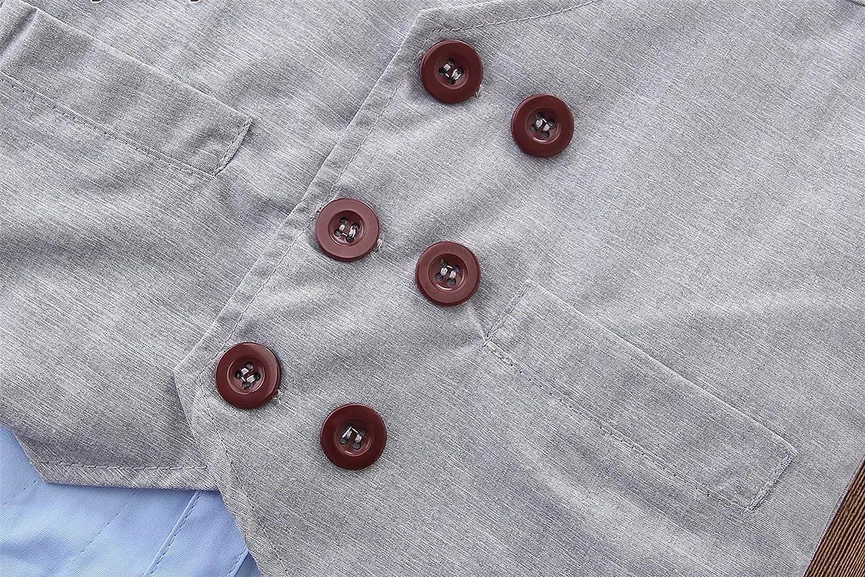 Pants Button Down Shirt Bow Tie Outfit 3-Piece Set Ameyda Boys Fashion Vest