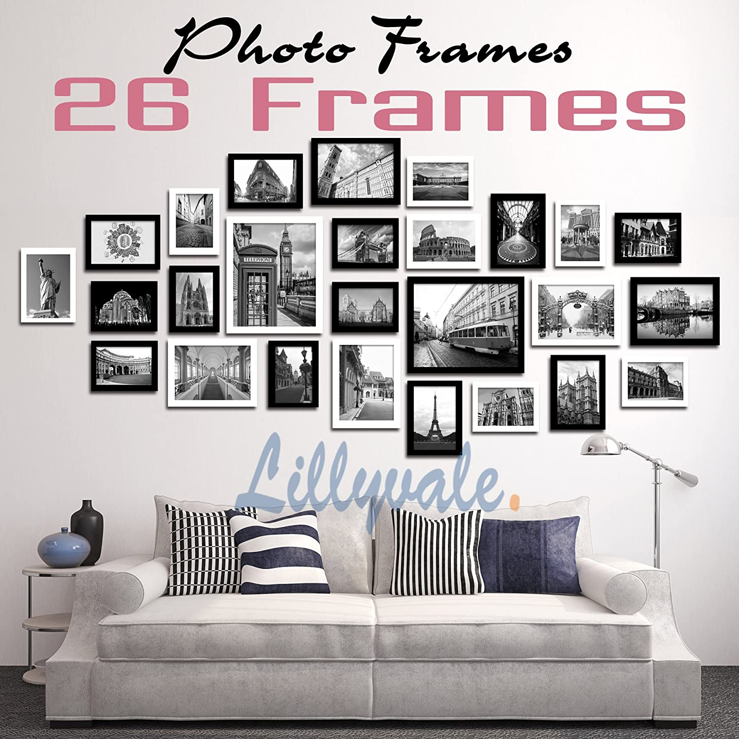Large multi picture photo frames wall set 26 pieces set white and large multi picture photo frames wall set 26 pieces set white and black amazon kitchen home jeuxipadfo Images