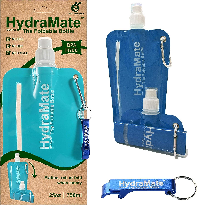 HydraMate Botella DE Agua Plegable 750ml. Libre DE BPA. Ligera, Suave, Compresible. Clip