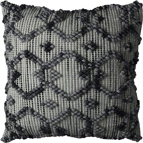 Rizzy Home T10824 Decorative Pillow, 20 X20 , Gray Black Neutral