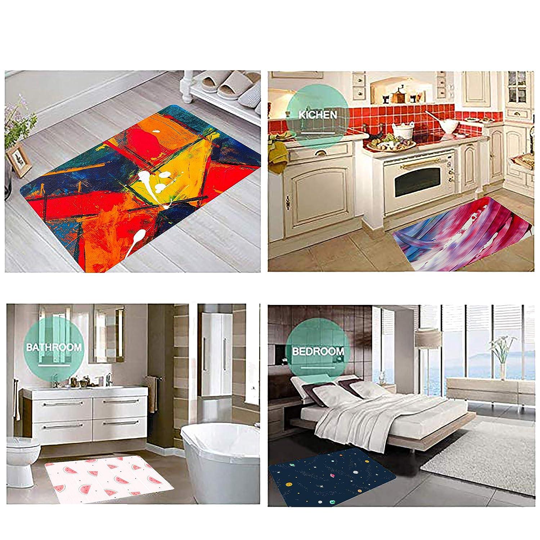 SHDU Barcelona Red and Blue Football Flannel Doormat Non-Slip Floor Carpet Bathroom Bedroom Mats Home Decorative 18 X 30