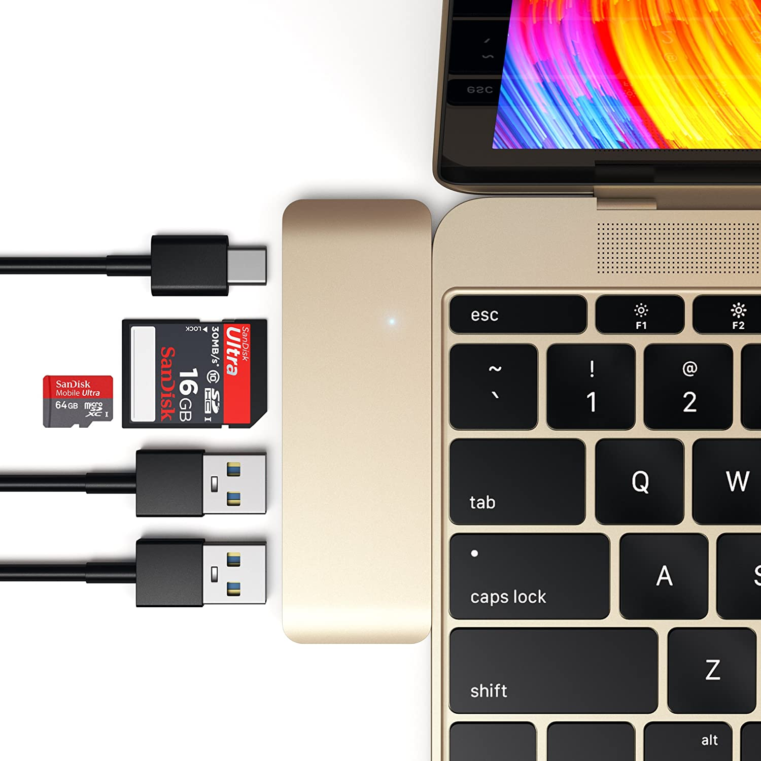 Satechi Aluminum Type-C USB 3.0 3-in-1 Combo Hub with USB-C Pass-Through Charging for 2015/2016/2017/2018 MacBook 12-Inch (Silver) ST-TCUPS