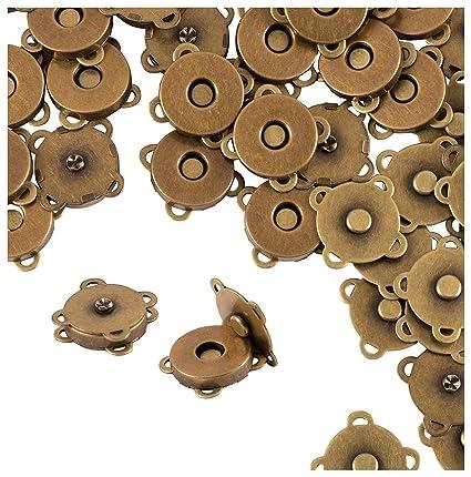 5 X Bolsa De Cierre magnético Broche Redondo par 14mm Botones Snap cerca de costura Craft