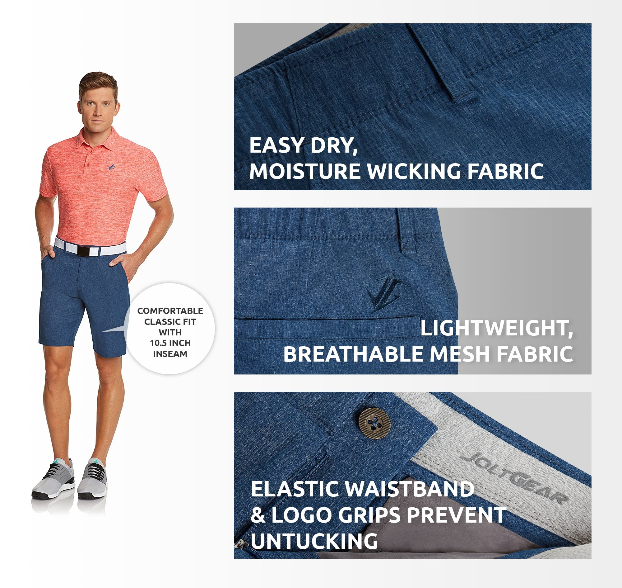 Jolt Gear Dry Fit Golf Shorts for Men – Casual Mens Shorts Moisture Wicking - Men's Chino Shorts with Elastic Waistband by Jolt Gear (Image #8)