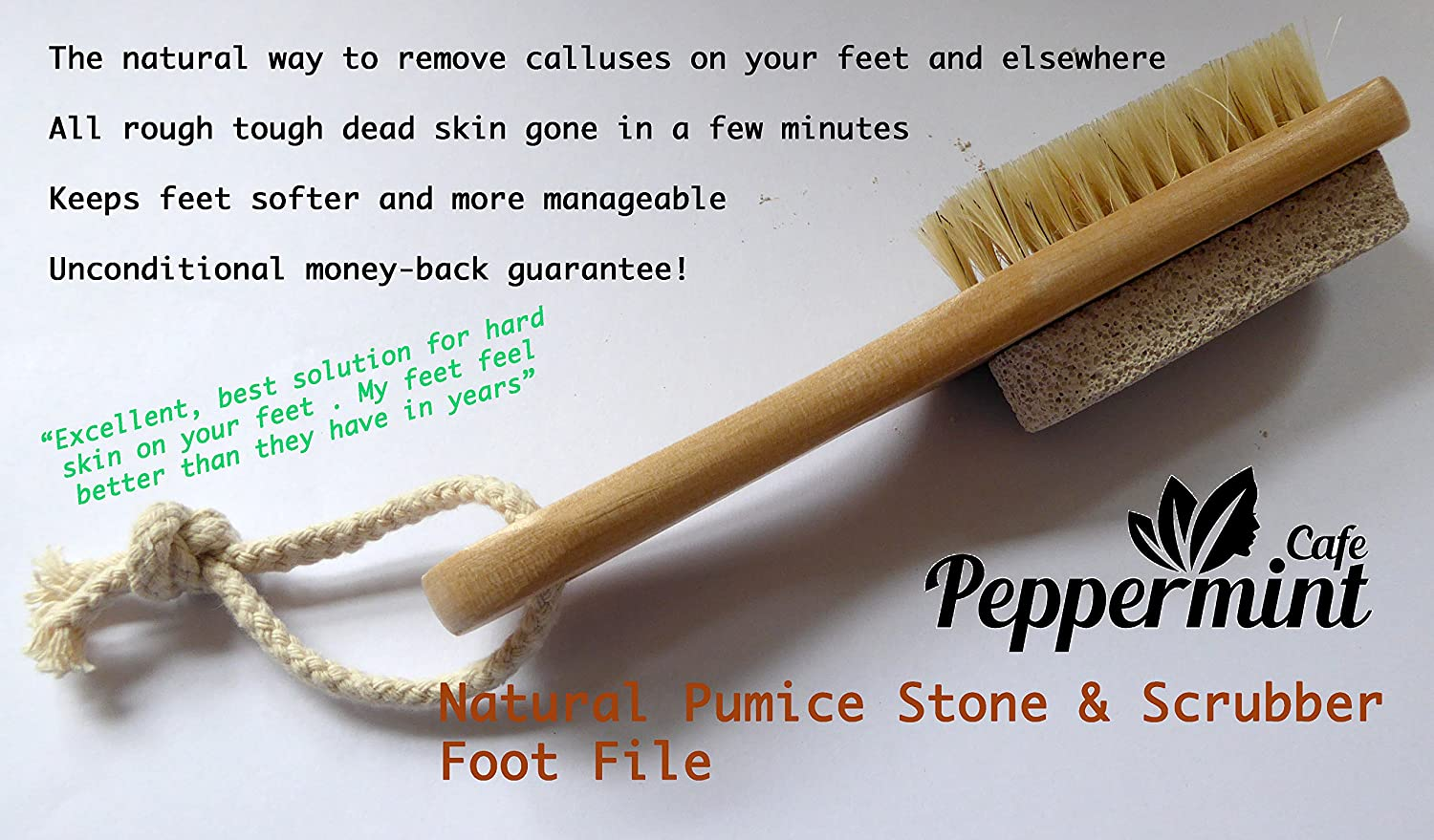 Peppermint Cafe - Natural Pumice Stone & Scrubber Foot File | The Natural Way to Remove calluses on Your feet and Elsewhere All Rough Tough Dead Skin Gone in a Few Minutes