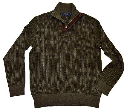 76054748d Ralph Lauren Polo Mens Half Zip Merino Wool Pullover Sweater Olive ...