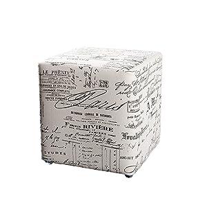 Macabane Pouf carré Tissu modèle 3, Lin, Imprime, 31 x 31 x 33 cm