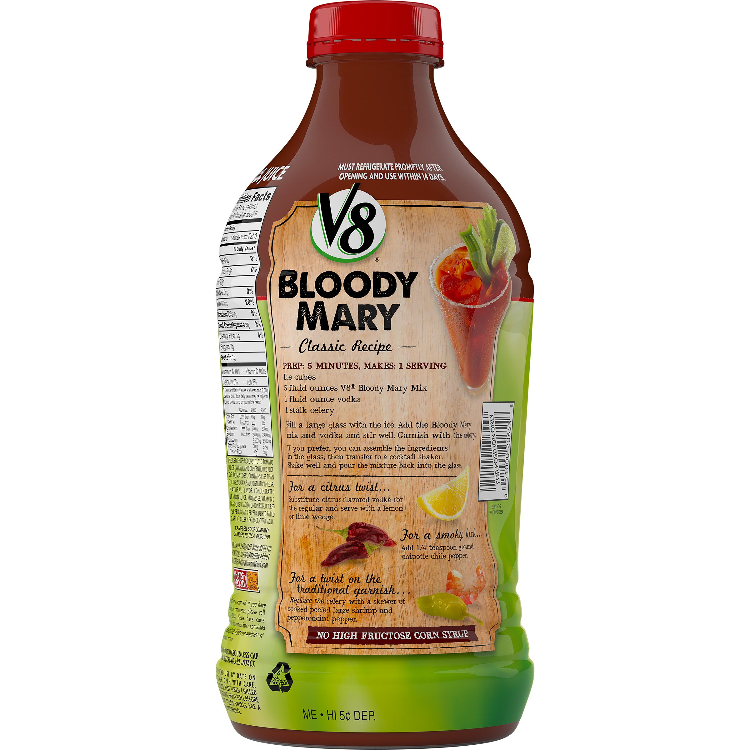 V8 Bloody Mary Mix, 46 oz. Bottle (Pack of 6) by V8 (Image #1)