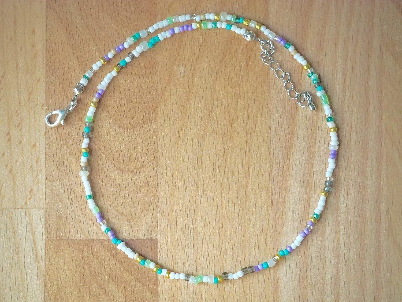 Pastel bead choker necklace, Dainty choker, Turquoise choker necklace, Boho Bead choker, Handmade glass bead choker, Pastel delicate Necklace