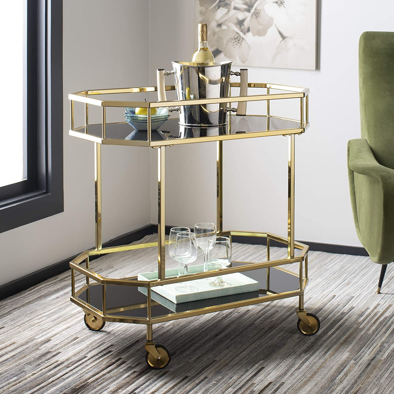 Safavieh Silva Bar Cart, Brass Black