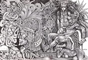 00c647036 Aztec Dream by Mouse Lopez Black and White Mexican Indian Tribal Artwork  Canvas Giclee Art Print