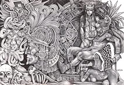 Aztec dream by mouse lopez black and white mexican indian tribal artwork canvas giclee art print
