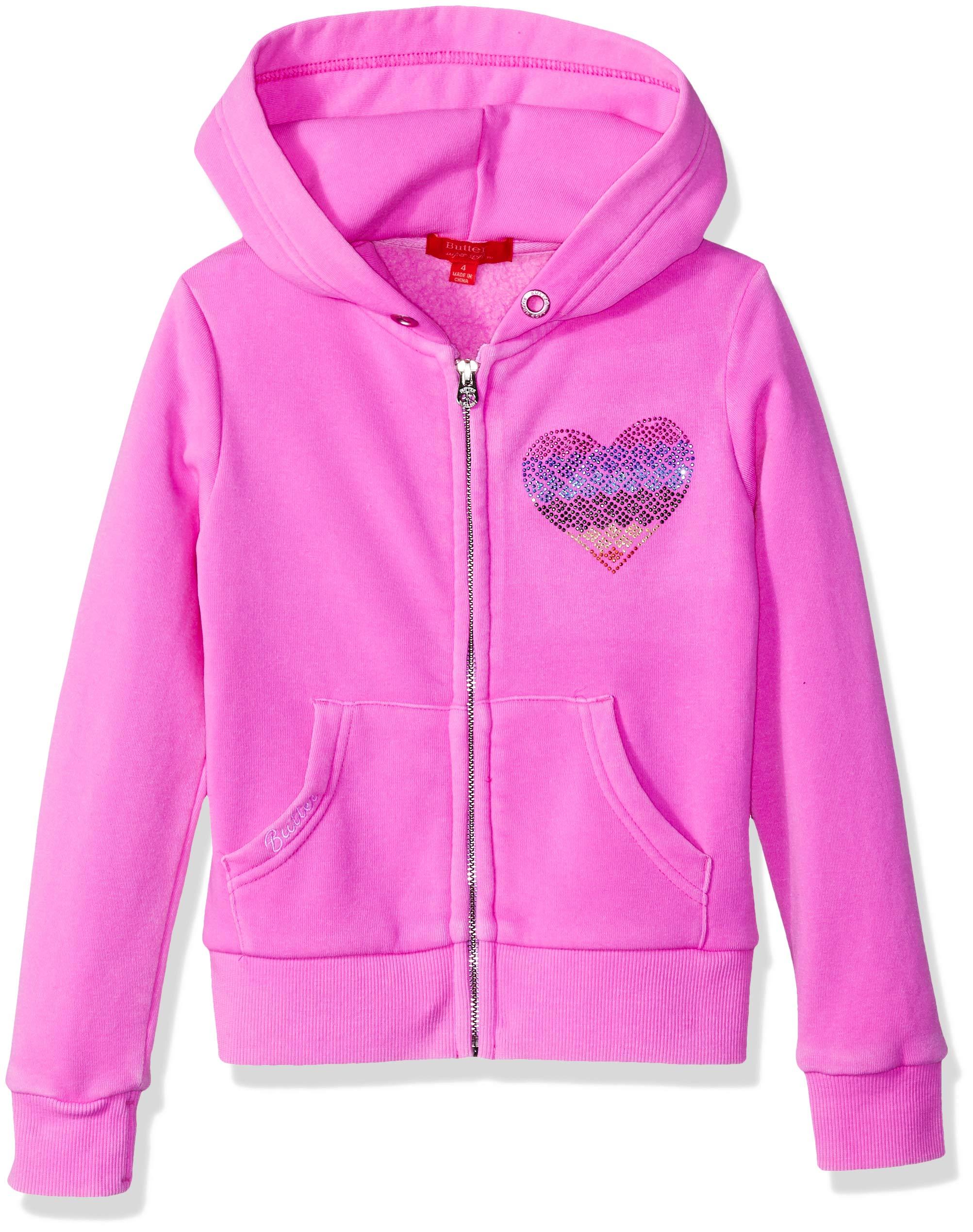 Butter Girls' Little Burnout Fleece Zip Hoodie, Peace Paradise Pink 4