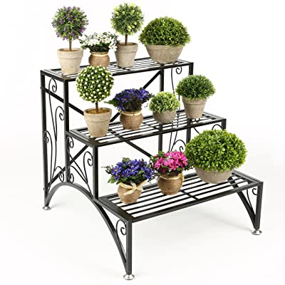 MyGift 3 Tier Planter Rack, Step Style Folding Plant Pot Shelf Stand, Black : Garden & Outdoor