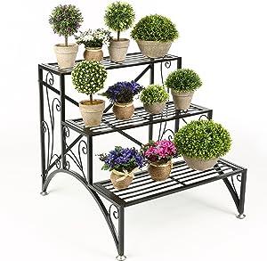 MyGift 3 Tier Planter Rack, Step Style Folding Plant Pot Shelf Stand, Black