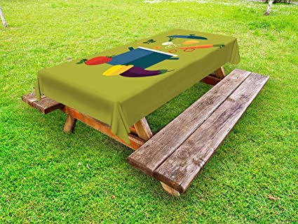 Peachy Amazon Com Ambesonne Vegetable Art Outdoor Tablecloth Download Free Architecture Designs Jebrpmadebymaigaardcom