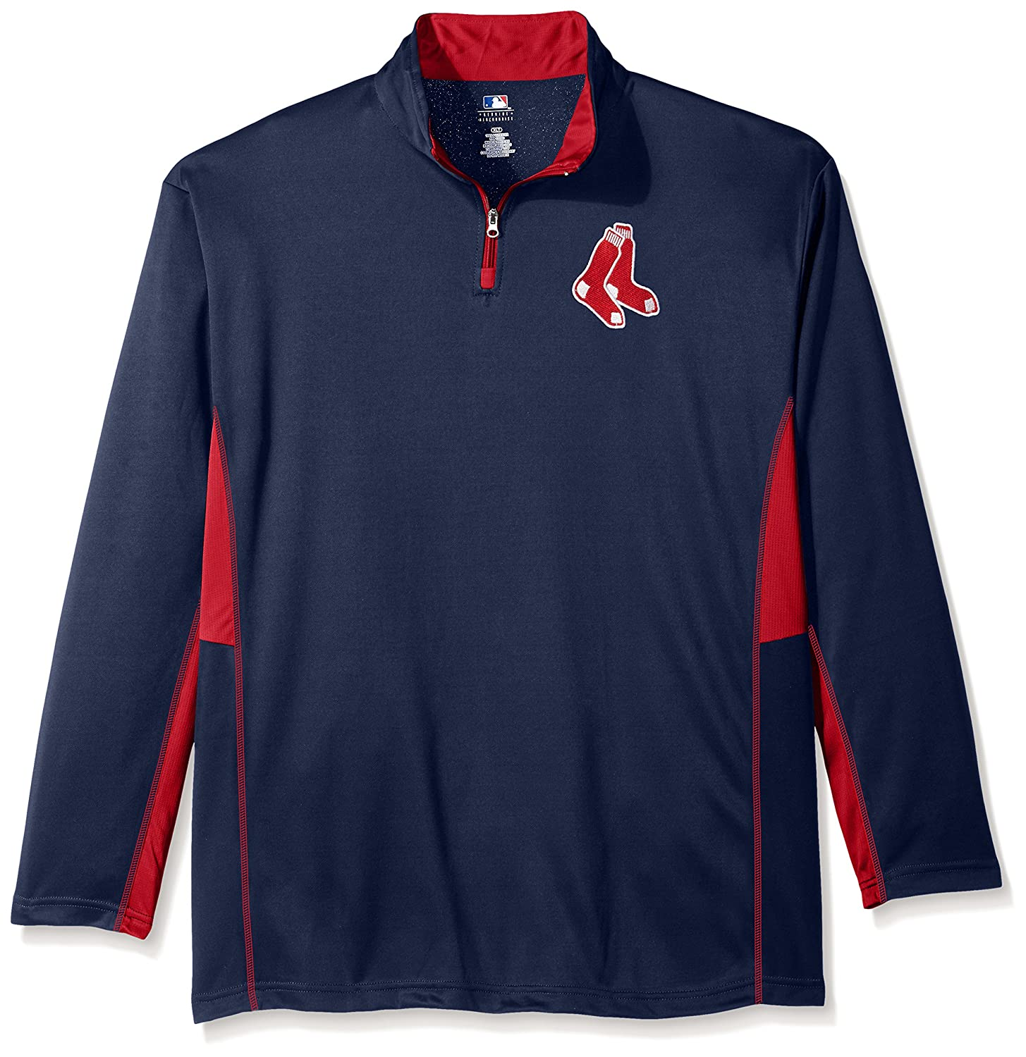 MLB Big and Tall Men's Long Sleeved Quarter Zip Poly Jersey with Logo Embroided Profile Fortune MLBQTRZPAMBR - NAVY - 4XT