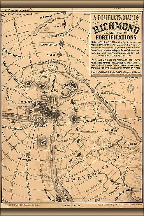 Amazon Com 20x30 Poster Civil War Map Of Richmond Virginia 1863