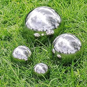 Gardens2you - Juego de 4 espejos esféricos de jardín (acero inoxidable, 6, 5, 9, 13 y 18 cm): Amazon.es: Jardín