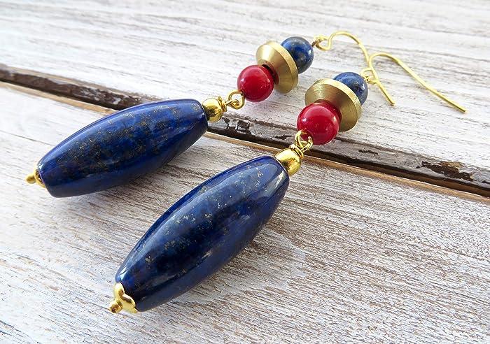 2547dd48d90f Pendientes de lapis lazuli azul y coral rojo
