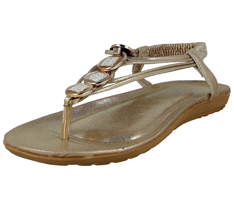 Foster Footwear Sandali Donna, Oro (Gold Flower), 42
