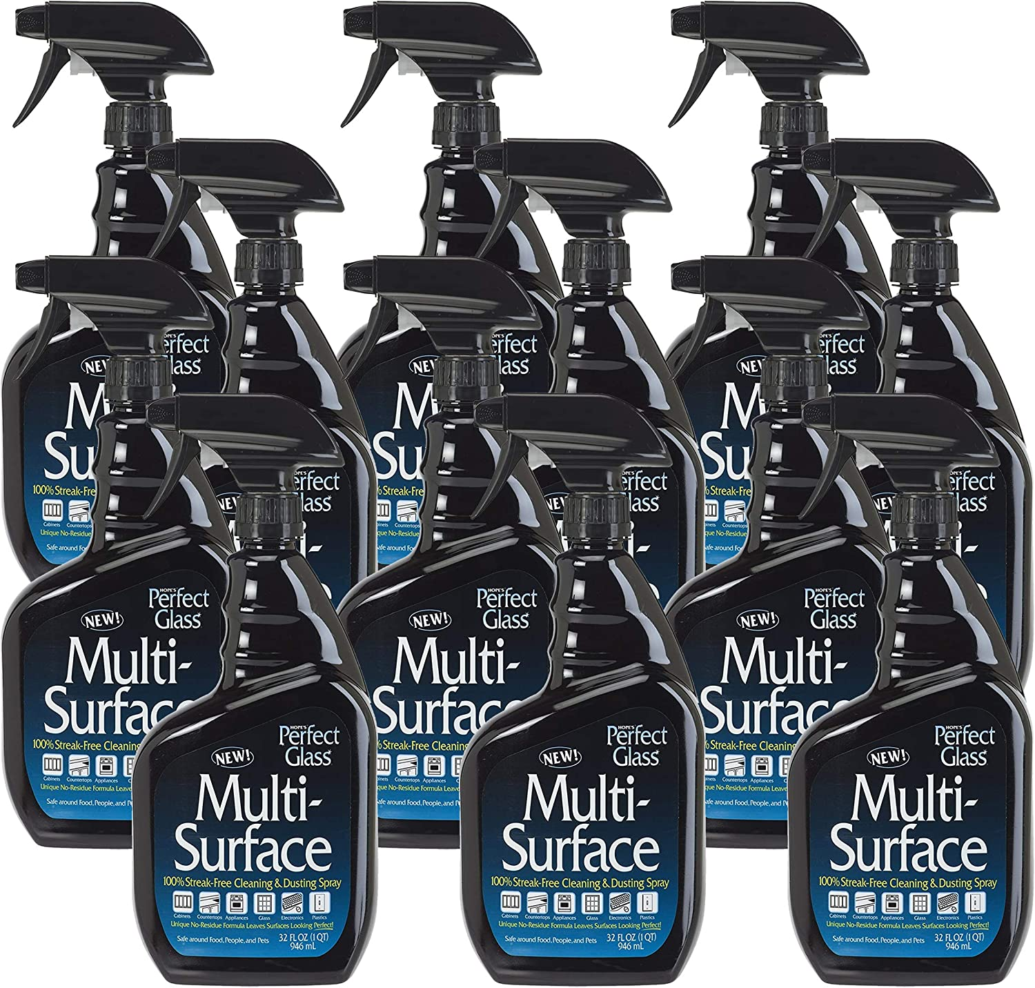 HOPE'S Perfect Glass Multi-Surface Purpose Household Spray, Kitchen Countertop Degreaser, Bathroom Shower and Sink Cleaner, Pack of 12, Streak Free, 12 Pack