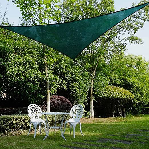 Amazon.com : Ollieroo Shade Sail UV Block Fabric Patio Outdoor Canopy Sun  Shelter With 5ft PE Ropes And Steel D Rings 12x12x12ft Triangle Dark Green  : Patio ...