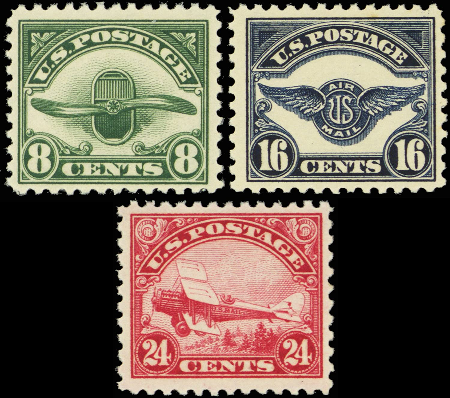 Second Three Airmail Stamps Issued By The United States Mint Never Been Hinged Scott C4 6 USPS Best Christmas Gifts 2018