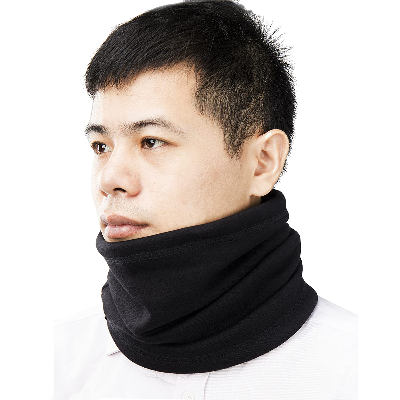 Cotton Velvet Neck Warmer, Winter Super Soft and Stretchy Neck Gaiter, Black SHE-NW-01